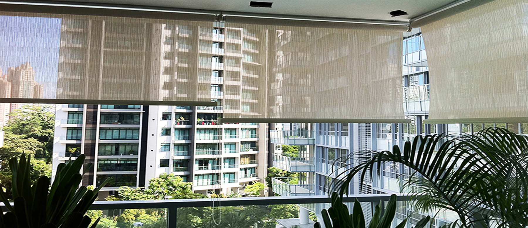 Outdoor Roller Blinds at Balcony
