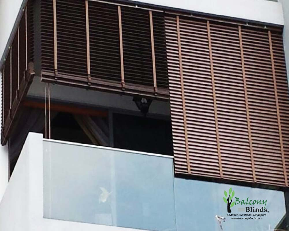outdoor pvc wooden blinds for residential balconyblinds