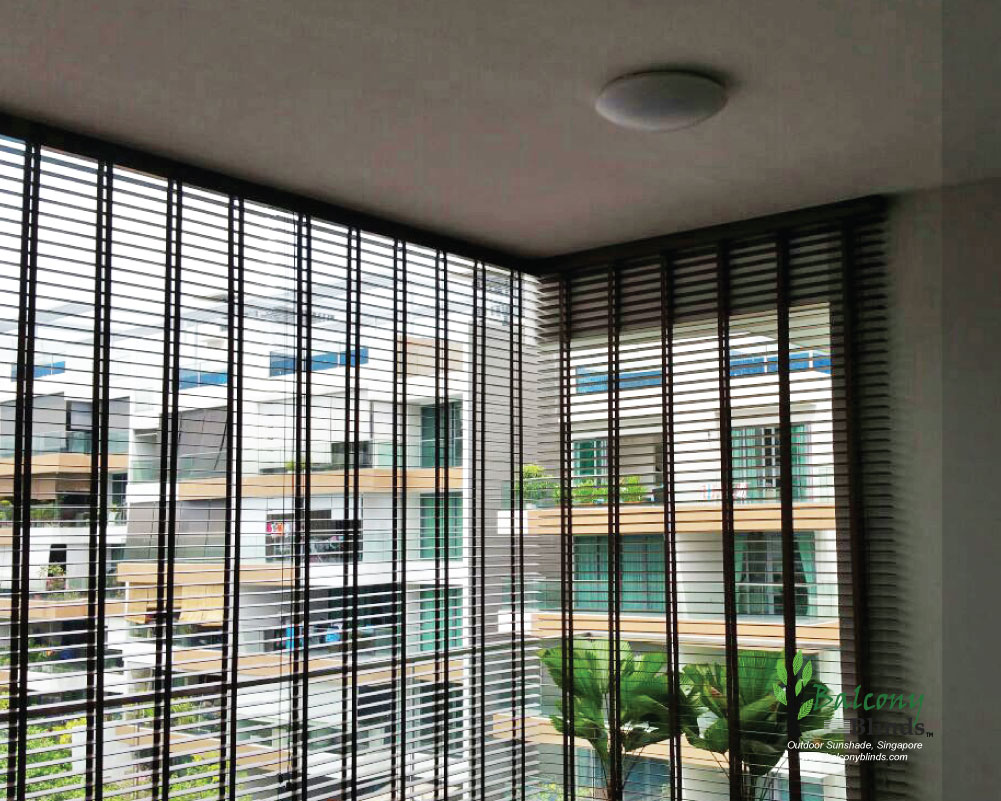 Outdoor pvc wooden blinds gallery balconyblinds for Balcony ideas singapore