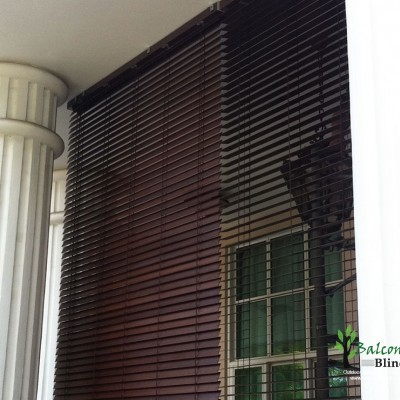 Outdoor Pvc Wooden Blinds Balconyblinds Singapore