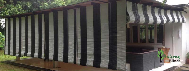 Outdoor Black & White Bamboo BalconyBlinds