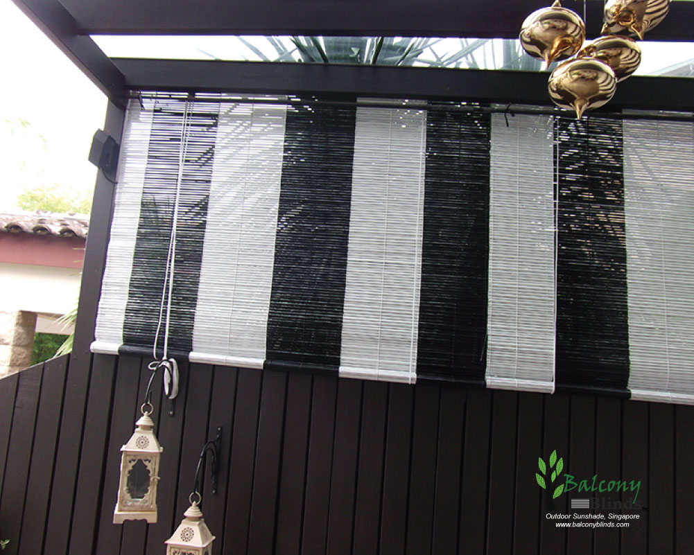 Black And White Bamboo Blinds Outdoor Singapore