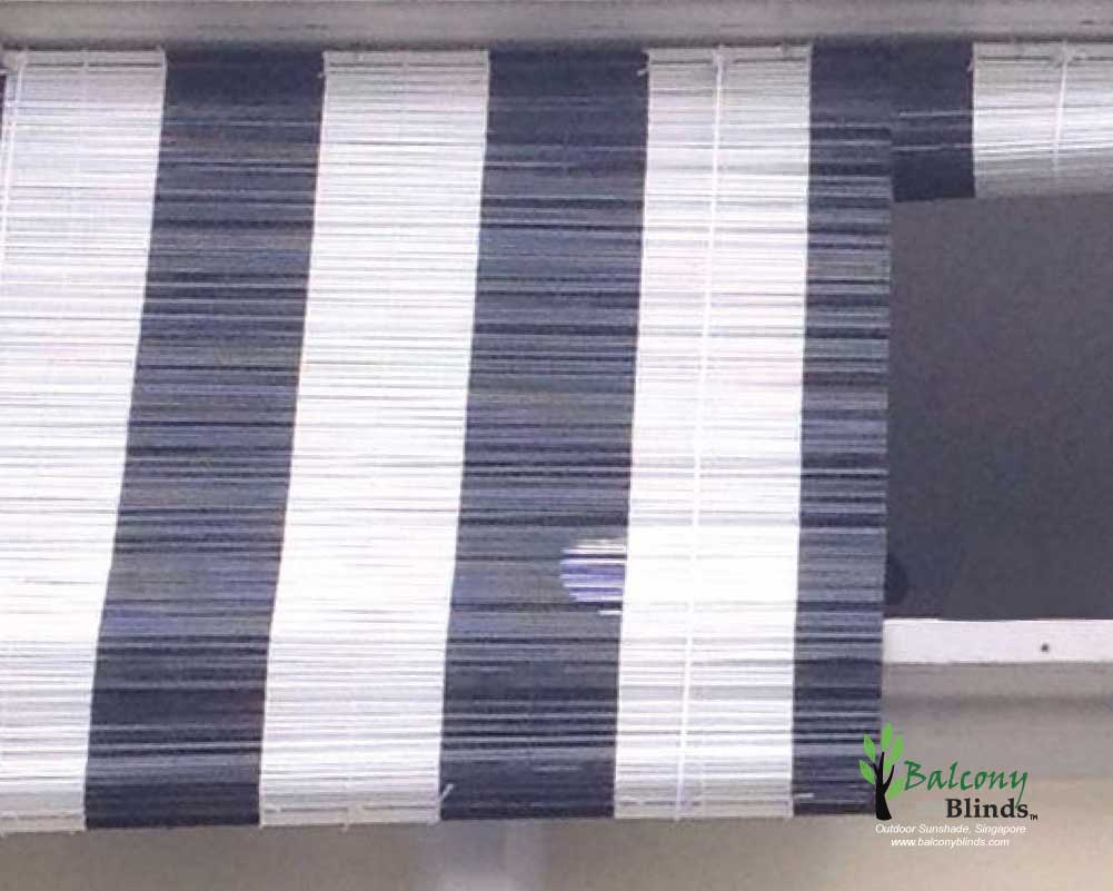Black And White Outdoor Bamboo Blinds Singapore