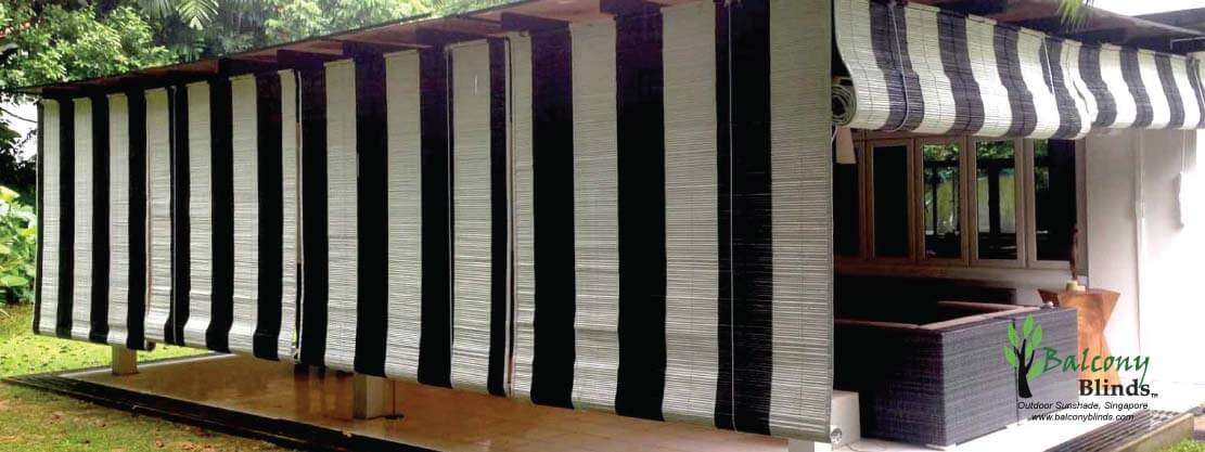 Outdoor Black & White Bamboo Blinds