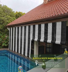 Outdoor Blind Shades - Black and White Bamboo Chick for Home Backyard Pool Area